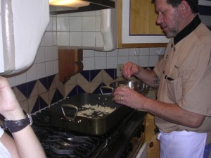 Chef Brad cooking Green Chili